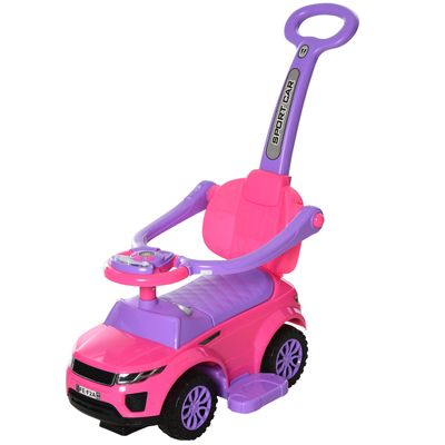 Aosom 3 In 1 Kid Ride on Push Car Stroller Sliding Walking Car with Horn Music Light Function Secure Bar Ride on Toy for Boy Girl Toddlers 1-3 Years Old Pink