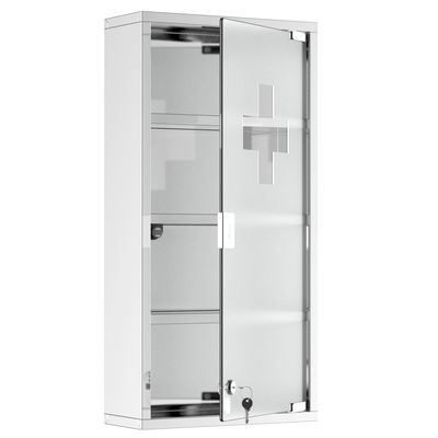 HOMCOM Stainless Steel Medicine Cabinet 4 Tier Frosted Door Lockable w/ 2 Keys Wall Mount First Aid Unit Home Safety Box
