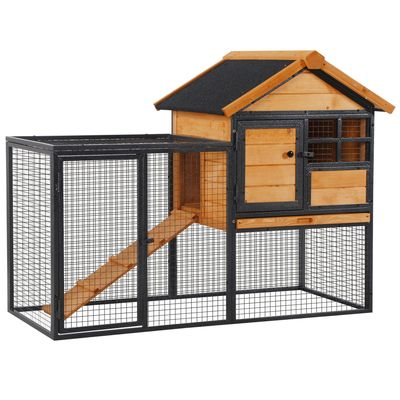 """PawHut Wood-metal Pet House Elevated Rabbit Hutch Bunny Cage Small Animal Habitat with Slide-out Tray Lockable Door Water-resistant Asphalt Roof for Outdoor 48"""" x 24.75"""" x 36.25"""" Light Yellow"""