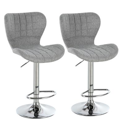 HOMCOM 2 Pieces Bar Stools Adjustable Height Dining Chair with/ Footrest for Home Pub