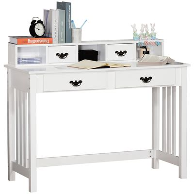 HOMCOM Study Writing Desk  Computer Table Workstation with Removable Shelf  2 Drawers  Wide Tabletop for Study  Office  Dorm  White