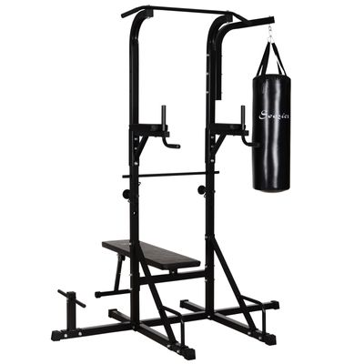 "Soozier 86"" Multi Function Full Body Power Tower Home Gym with Punching Bag"