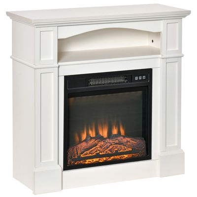 HOMCOM Electric Fireplace with Mantel, Freestanding Heater Corner Firebox with Log Hearth, Shelf and Remote Control, 1400W, White