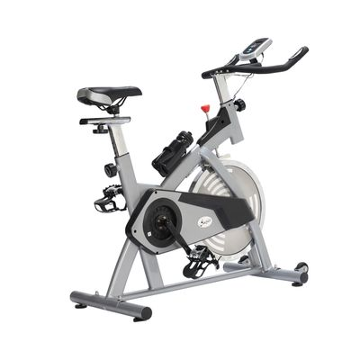 Soozier Adjustable Upright Exercise Bike Cycling Trainer Home Gym Fitness Equipment, Silver