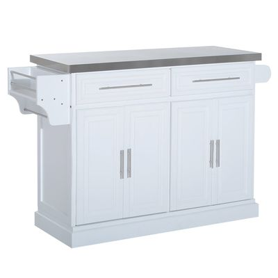 HOMCOM Portable Multi-Storage Rolling Kitchen Island Storage Cart with Stainless Steel Top, White