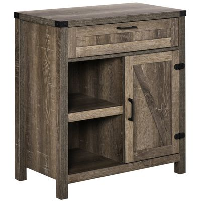 HOMCOM Rustic Barn Door Storage Cabinet Modern Farmhouse Buffet Sideboard for Kitchen & Dining Room  Dark Oak