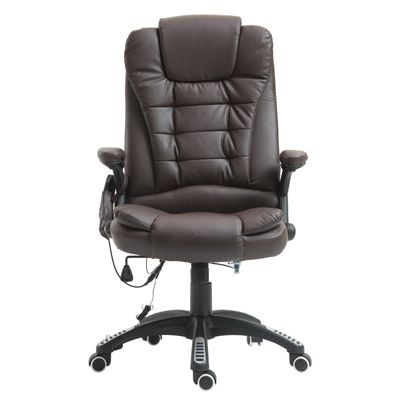 HOMCOM Heated Ergonomic Massage Chair Swivel High Back Leather Executive Adjustable Vibrating Home Office Furniture, Brown