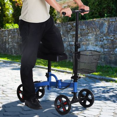 HOMCOM Portable Knee Scooter Crutch  Alternative W/ Non-Marking Wheel