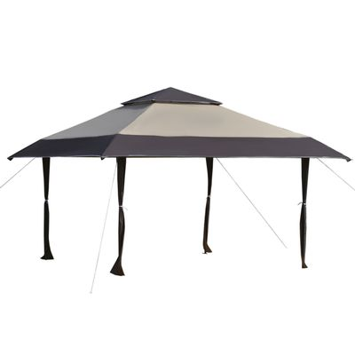 Outsunny 13' x 13' Outdoor Pop-Up Party Tent Canopy with Top Vent, 3-Level Adjustable Height, and Roller Bag, Khaki