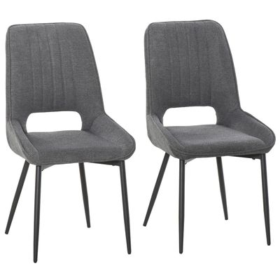 HOMCOM Modern Dining Chairs Upholstered Linen-Touch Fabric Armless Accent Chairs, Set of 2 with Steel Legs, Grey