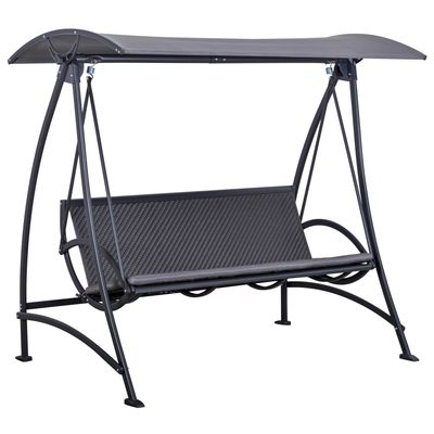 Outsunny 3 Person Rattan Swing Chair Garden Swing Bench Outdoor Hanging Porch Swing w/ Adjustable Canopy, Cushion, Steel Frame, Grey