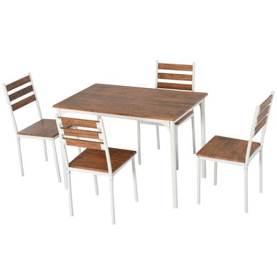 HOMCOM 5-Piece Modern Wooden Dining set for Home Kitchen White