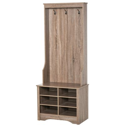 HOMCOM Coat Rack Wooden Hall Tree Cabinet Shoe Bench with Rack 3 Hooks