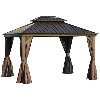 Outsunny 12' x 10' Outdoor Hardtop Gazebo with Galvanized Steel Canopy & Netting Sidewalls for Lawn, Backyard, Brown