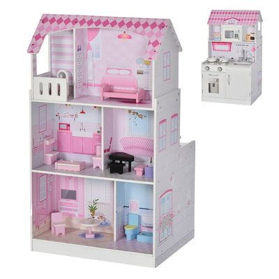 Qaba 2 in 1 Multifunctional Kids kitchen Doll House with Accessories