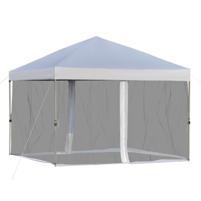 Outsunny 10' x 10' Outdoor Pop-Up Party Tent Canopy with Mesh Sidewalls, 3-Level Adjustable Height, Roller Bag, Silver