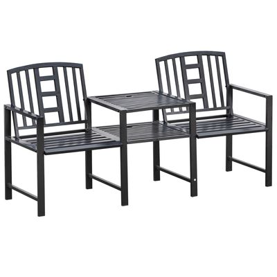 Outsunny Steel Garden Bench w/ Middle Table  Umbrella Hole  Double Seat for Outdoor  Patio  Backyard  Weather-Resistant Frame  Black