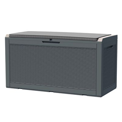 """Outsunny Patio PP Resin Rattan Storage Box Outdoor Garden Furniture 2 People Sit with Handles & Cushion Grey 47.25""""L x 21.5""""W x 24.5""""H"""