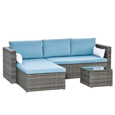 Outsunny 3-Piece Modern Outdoor Patio All-hand Woven Rattan Wicker Furniture Patio Coffee Table Sofa Set - Blue