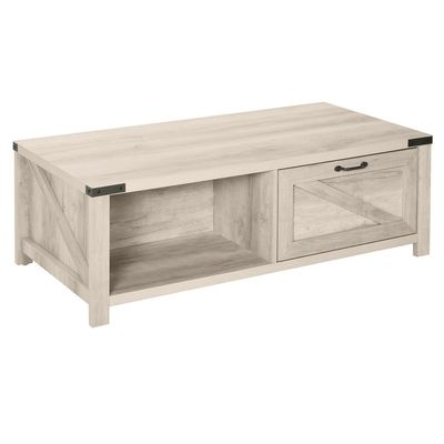 HOMCOM Industrial Coffee Table Side End Table with Drawer, Open Storage Shelf, Modern Farmhouse Furniture, for Living Room, Dining Room, Office, White Oak