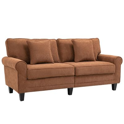 HOMCOM Modern Classic 3-Seater Sofa Corduroy Fabric Couch with Pine Wood Legs  Rolled Arms for Living Room  Brown