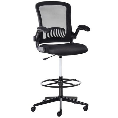 Vinsetto Tall Drafting Desk Chair Office Mesh Standing Chair with Foot Ring, Flip-up Arm, 360° Swivel Wheels, Black