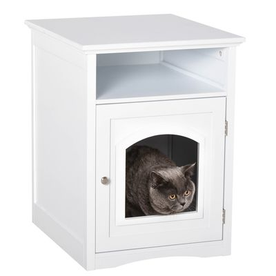 PawHut Wooden Cat Washroom Pet Litter Box Decorative Kitten House Nightstand End Table Indoor with Magnetic Door White