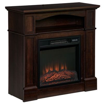 HOMCOM Electric Fireplace with Mantel, Freestanding Heater Corner Firebox with Log Hearth, Shelf and Remote Control, 1400W, Brown