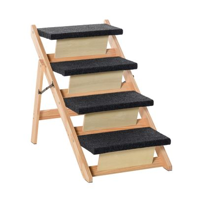 PawHut Wood Pet Stairs 2 In 1 Convertible Dog Steps and Carpeted Ramp Portable Foldable 4 Level Cat Ladder for High Bed Couch Car