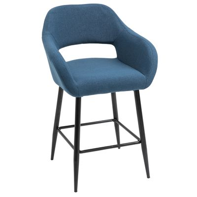 HOMCOM Modern Counter Height Barstools Linen Fabric Upholstered Chair with Footrest & Metal Legs,Blue