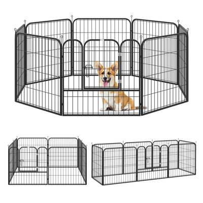 PawHut 8 Panel Pet Playpen Play Yard Fence Home DIY Heavy-Duty Metal Foldable Indoor Outdoor For Small Dogs, Black
