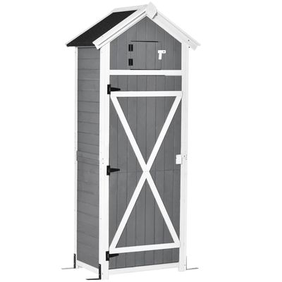 Outsunny 30.75''x 20.75''x71.75'' Garden Wood Storage Shed with Workstation, Hooks and Ground Nails Multifunction  Lockable Sheds & Outdoor Storage Asphalt Roof Tool Organizer, Grey