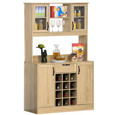 HOMCOM Large Traditional Kitchen Buffet and Hutch Cupboard Living Room Storage Cabinet with Utility Drawer, Four Door Cabinets , Optional 12-Bottle Wine Storage,Adjustable Shelves