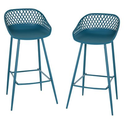 HOMCOM Set of 2 Vintage Metal Bar Stool with Back Rest Counter Stools with Footrest