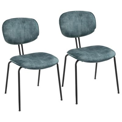 HOMCOM Mid-Century Dining Chairs Upholstered Fabric Accent Chairs with Metal Legs for Kitchen, Set of 2, Blue