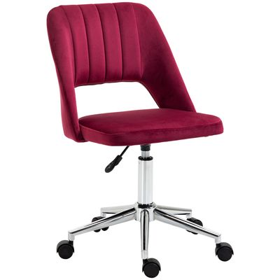Vinsetto Mid Back Office Chair Velvet Fabric Swivel Scallop Shape Computer Desk Chair, Red