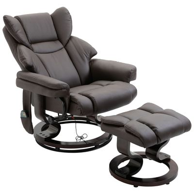 HOMCOM Massage Sofa Recliner Chair with Footrest 10 Vibration Point Faux Leather Brown