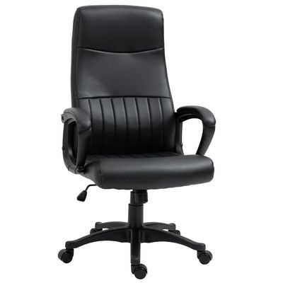Vinsetto High Back Office Chair Swivel Executive PVC Leather Ergonomic Chair, Adjustable Height, Black