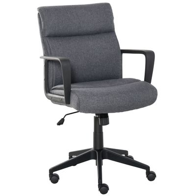 Vinsetto Office Chair Linen 360° Swivel Computer Desk Chair Home Study Rocker with Wheels  Grey