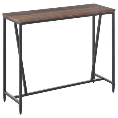 HOMCOM Rustic Industrial Bar Table Accent Pub Table with Metal Legs for Home Bar, Kitchen, Dining Room, Living Room, Walnut