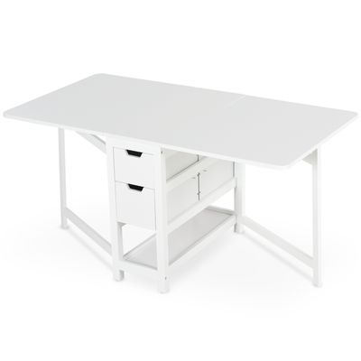 "HOMCOM Expandable Dining Table Fold Tabletop White 1.5m/0.3m 59""/12"" w/ Drawer  Shelf"