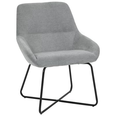 HOMCOM Modern Comfort Style Leisure Accent Armchair with X-Shaped Metal Base and Curved Back for Living Room  Dining Room  Office  Off-White and black