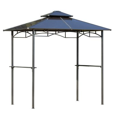 Outsunny 8' x 5' Barbecue Grill Gazebo Tent Outdoor BBQ Canopy with Side Shelves Double Layer PC Roof Aluminium