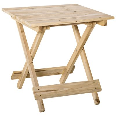 Outsunny Folding Side Table Portable Outdoor Square Table Quik-Fold All Wood Structure for Beach Camping Picnics Natural Wood Color