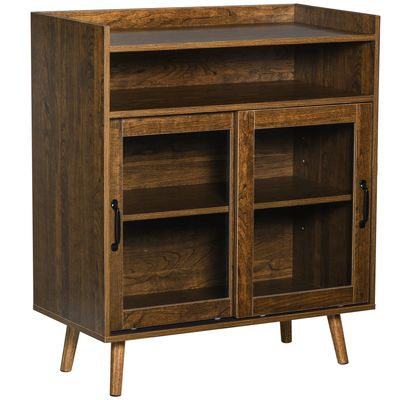 HOMCOM Kitchen Cabinet Storage Sideboard Server Console Buffet Table with Framed Glass Doors  Brown