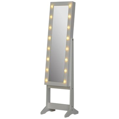HOMCOM Lighted Mirrored Jewelry Cabinet Floor Free Standing Armoire Organizer Storage Adjustable w/ Lock 16 LED Lights White
