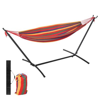 Outsunny Fabric Hammock Bed with Stand, Free Standing Adjusytable Lounge Chair Includes Portable Carrying Case for Outdoor or Indoor