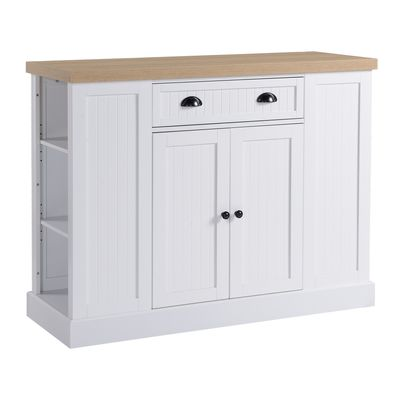 HOMCOM Fluted-Style Wooden Kitchen Island, Storage Cabinet with Drawer, Open Shelving, and Interior Shelving for Dining Room, White
