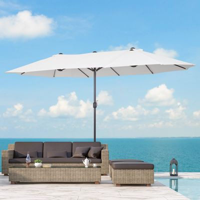 Outsunny 15ft Double-Sided Patio Umbrella Parasol Sun Shelter Canopy Shade UV Protection w/ Hand Crank