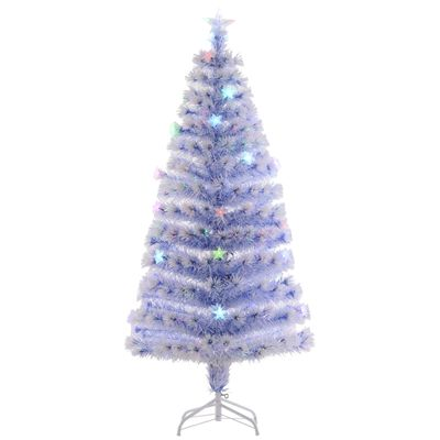HOMCOM 5ft Pre-Lit LED Optical Fiber Christmas Tree w/ Stand White
